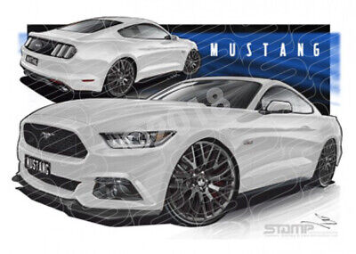 Mustang 2016 GT OXFORD WHITE  STRETCHED CANVAS (FT351)
