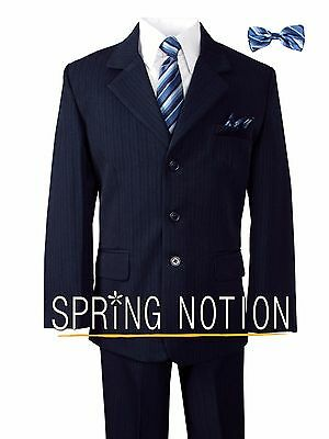 Boys Pinstripe Navy Blue Suit with Matching Tie and Bow Tie