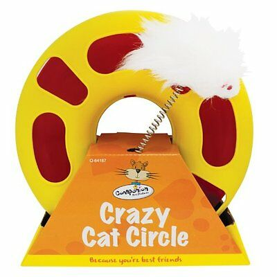 New In Pack Crazy Cat Circle Fluffy Mouse Attached Ball Inside Hours Of Fun L@@k