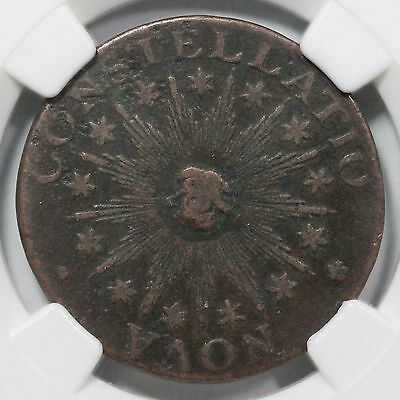 1783 2-B NGC F 12 SM 'US' POINT RAYS Nova Constellatio Colonial Copper Coin