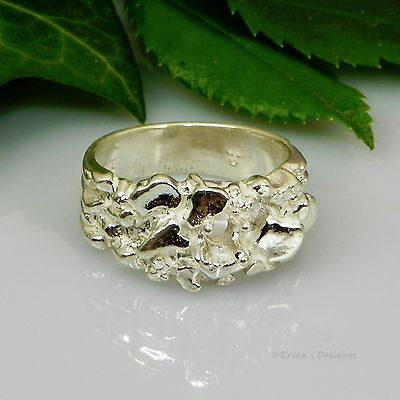 4mm Round Nugget Pre-Notched Sterling Silver RING Setting Size 7