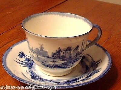 Antique Royal Doulton Lambeth Flow Blue Cup & Saucer in Norfolk Pattern