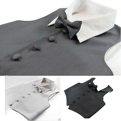 Boys Vest Waistcoat Wedding Tuxedo Pageboy Costume Black White Grey Bow Tie Set