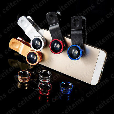 3in1 Lens Photo Clip Kit Fish Eye Wide Angle Macro Lens for Cell Phone Huawei LG
