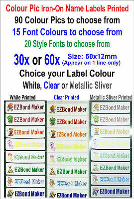 30x or 60x Colour Picture-icon Iron-on Name Labels Tags Printed Size:50x12mm