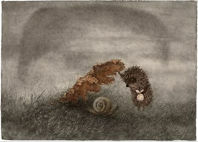 Hedgehog in the Fog Y.Norstein's animation hand-signed Giclée (Hedgehog & Snail)