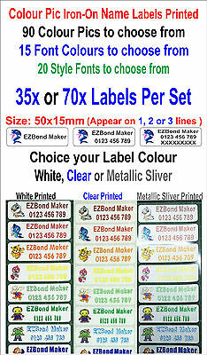 35x or 70x Colour Picture-icon Iron-on Name Labels Tags Printed Size:50x15mm