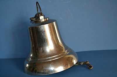Large Antique Mid 20th Century Chrome / Nickel Plated Bronze Ships Bell ,c 1950