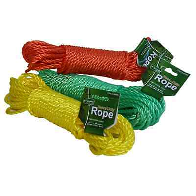 15m x 5mm Tough Polypropylene Rope Red Green Yellow Srong Durable Great Value!