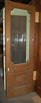 Architectural Antique Victorian Oak Entry Door Refinished Ornate House Salvage