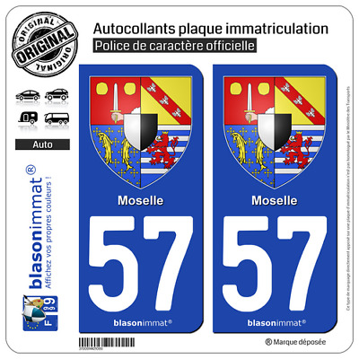 2 Blason plaque immatriculation auto | 57 Moselle - Armoiries