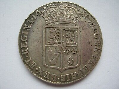 1689 William and Mary Half Crown. ESC 505.