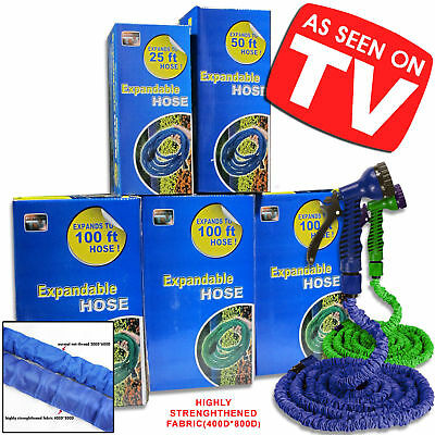 25ft Blue Expanding Flexible Expandable Garden Water Hose Pipe + Spray Nozzle