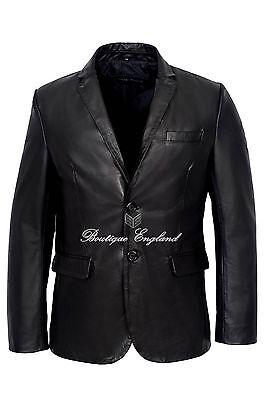Mens Leather BLAZER BlaxkClassic ITALIAN Tailored Soft REAL LEATHER