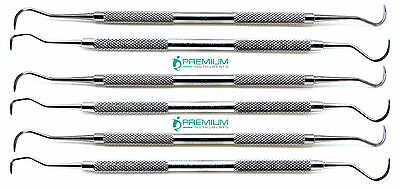 6 Pcs Premium Dental 3 Sickle & 3 Jaquette Scaler Double End Explorer Instrument