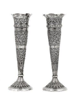 Pair of Old Persian Islamic Sterling Silver Spill Vase