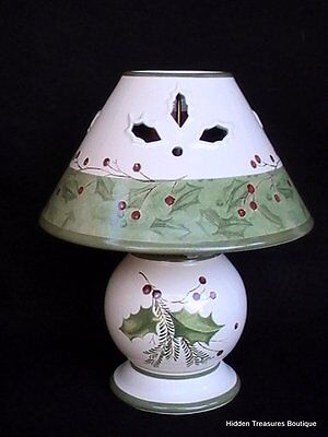 Lenox Holiday Gatherings Candle Lamp w/Votive Holly & Berries NIB