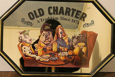 Rare Vintage Mirror 1988 Old Charter Dogs Playing Poker Art Bar Mirror