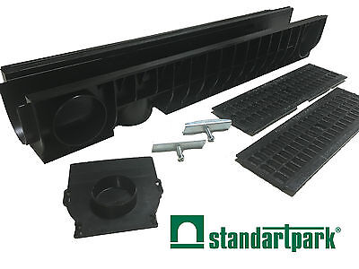 "Standartpark - 4"" inch trench drain cast iron mesh grate package 6"" depth PC8000"