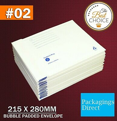 200x Bubble Mailer Padded Bag Envelope #02 215X280MM Cushioned #2 215mm x 280mm