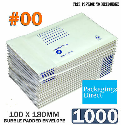 1000 #0 Bubble Envelope 100x180mm Padded Bag Mailer SIZE 00 - White Printed
