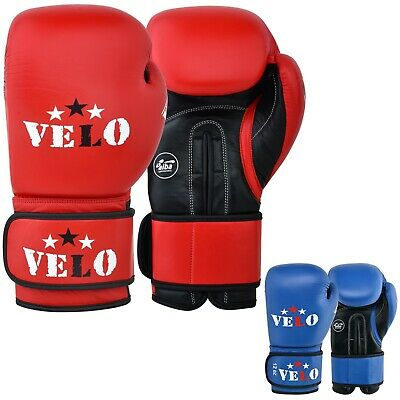 VELO AIBA Leather Boxing Gloves Approved Fight Competition Muay Thai Sparring
