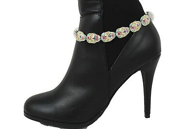 Women Silver Metal Thick Chain Boot Bracelet Western High Heels Shoe Charm Ring