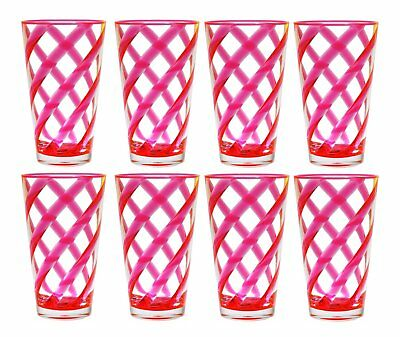 QG 22 oz Clear Neon Pink Helix Acrylic Plastic Iced Tea Cup Tumbler Set of 8