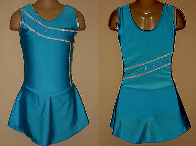 NWT 10-12y CHILD Ice Skating Dress Blue Lycra Majorette Dance Costume Leotard