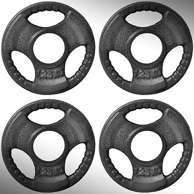 "Cast Iron Tri Grip Weight Plates 4 x 1.25kg fit 2"" Olympic Bars"