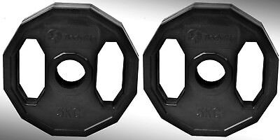 Olympic Rubber Coated Hex Weight Disc Plates 2 x 5kg Gym Fitness Train Weights