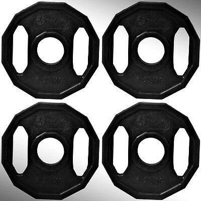 "Cast Iron Black Polygonal Weight Plates 4 x 1.25kg fit 2"" Olympic Bars"