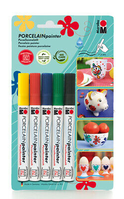 "Porzellanmarker ""BASIC"" Porcelain Painter 5er Set Porzellan Stift Pen"