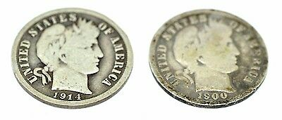 1900-P, 1911-D (2) Barber One Dime Coins Silver 90%  C1829Rz