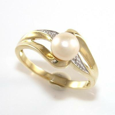 10K Yellow Gold White Pearl Diamond Accent Multi Band Ring Size 7 QZ