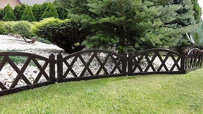 Plastic Garden Fence Panels Boarder Lawn Palisade Edge Patio Fencing BROWN BJNEW