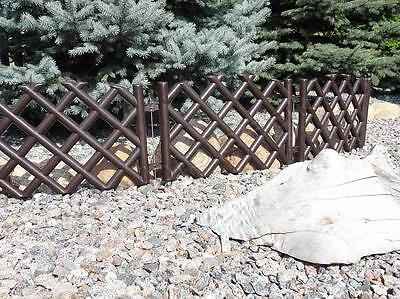 Plastic Garden Fence Panels Boarder Lawn Palisade Edge Patio Fencing BROWN PJPOB