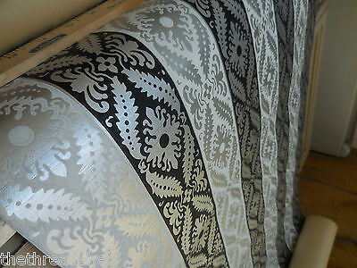 Vintage Roll Wallpaper Silver Black White Fancy Lacy Design 70 Sq Ft Birge 21.5W