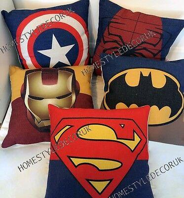 Quality Avengers Superhero Cotton Linen Cushion Cover Throw Pillow Case Kid Room