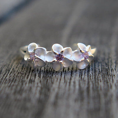 Hawaiian 4mm Sterling Silver 3 Plumeria Toe Ring Pink Cubic Zirconia E17