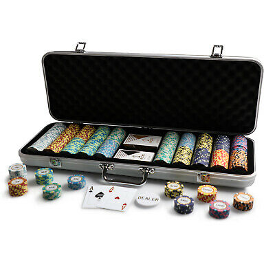 500 Chips Poker Set Silver Aluminium Case Monte Carlo 14g Chips Plastic Cards