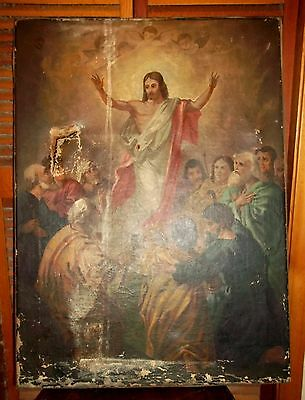 Huge Antique Old Master Risen Christ Oil Painting (As Shown)