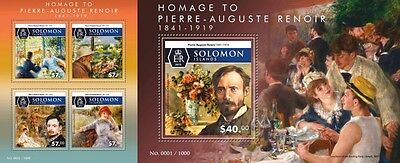 Z08 SLM15520ab SOLOMON ISLANDS 2015 Pierre-Auguste Renoir Imperforated Set