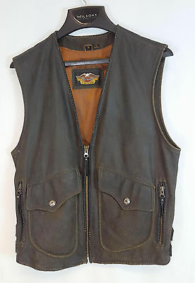 Harley Davidson DISTRESSED Brown Leather BILLINGS Style Motorcycle Vest Size S