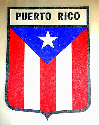 "Vintage 1974 Roach ""PUERTO RICO"" Shield Iron-on Transfer"