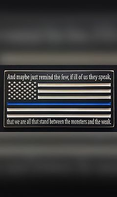 Engraved thin blue line police sign. Perfect for police officers everywhere