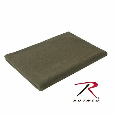 """Wool Winter Blanket 62"""" x 80 New Military OD Green Rothco 9093"""