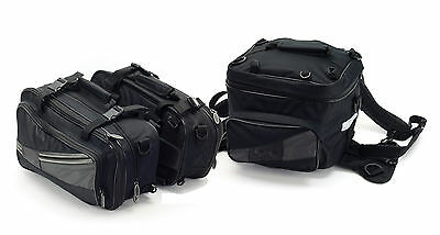 Motorcycle Luggage Panniers Tail Pack Expandable Motorbike Touring Saddle Bags