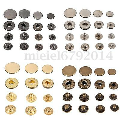 15/30 Sets Fasteners Press Studs Poppers Sewing Buttons Leather Craft New UK