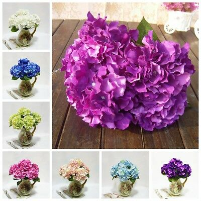 5 Heads Wedding Artificial Hydrangea Silk Flower Home Party Floral Bouquet Decor